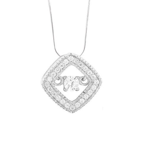 N028098 - Sterling Silver and Cubic Zirconia Diamond Shape Halo Necklace with 'Dancing' Cubic Zirconia Center