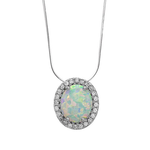 N028101 - Halo Style White Opal and Sterling Silver Necklace