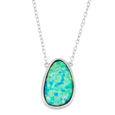 N028103 - Blue Inlay Oval Opal and Sterling Silver Necklace, 16 + 2""