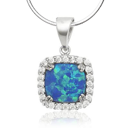 N028105 - Blue Square Inlay Opal, CZ and Sterling Silver Necklace
