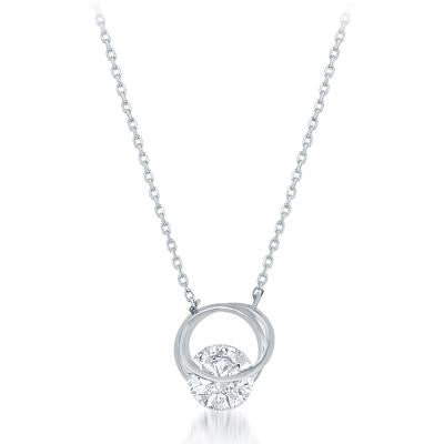 N028111 - Sterling Silver Looped Circle with Center Large Cubic Zirconia Necklace