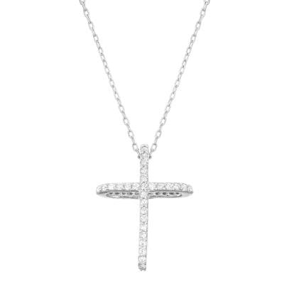 N028113 - Sterling Silver and Cubic Zirconia Cross Necklace