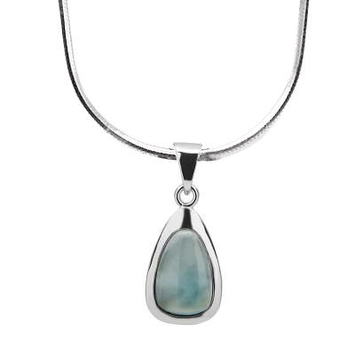 N028120 - Sterling Silver and Larimar Teardrop Necklace
