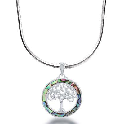 N028121 - Sterling Silver and Abalone Tree of Life Necklace