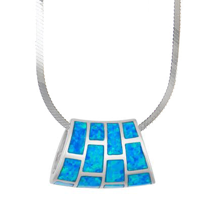 N028122* - Sterling Silver and Inlay Blue Opal Slider on Heavy Snake Chain