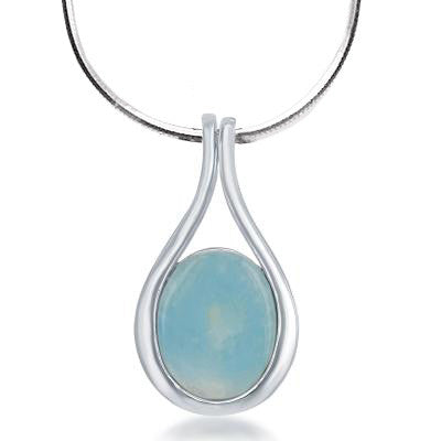 N028123* - Sterling Silver and Teardrop Larimar Necklace