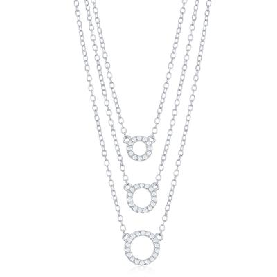 N028125 - Sterling Silver Triple Chain Open Cubic Zirconia Circles Necklace