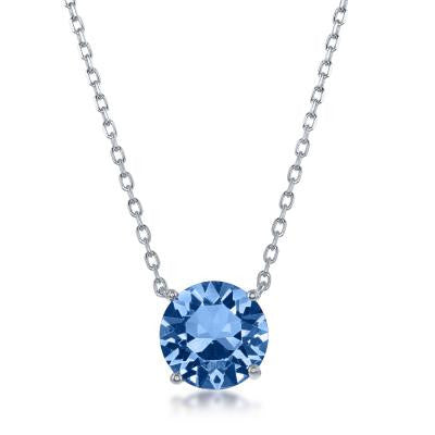 "N028127 - Sterling Silver and Light Sapphire ""December"" Swarovski Crystal Necklace"
