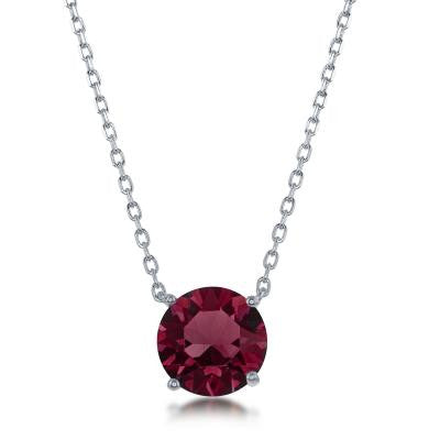 "N028128 - Sterling Silver and Burgundy ""January"" Swarovski Crystal Necklace"
