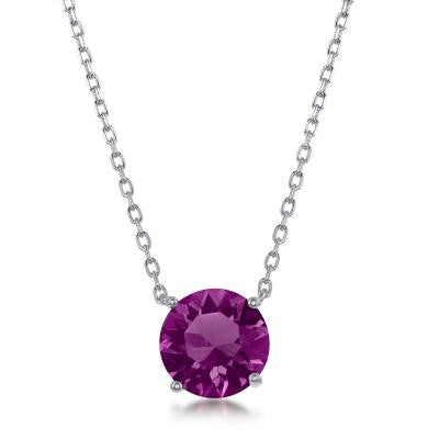 "N028129 - Sterling Silver and Amethyst ""February"" Swarovski Crystal Necklace"