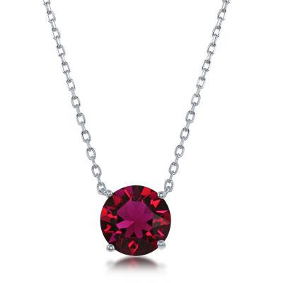 "N028134 - Sterling Silver and Ruby ""July"" Swarovski Crystal Necklace"