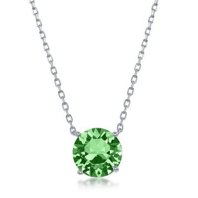 "N028135 - Sterling Silver and peridot ""August"" Swarovski Crystal Necklace"