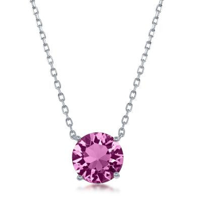 "N028137 - Sterling Silver and Rose ""October"" Swarovski Crystal Necklace"