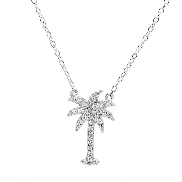 N028143 - Sterling Silver and CZ Palm Tree Necklace
