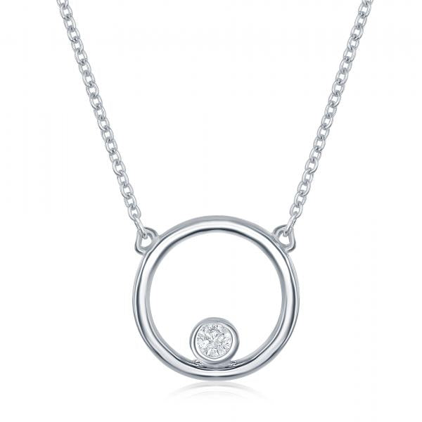 N028144 - Sterling Silver Open Circle and CZ Necklace