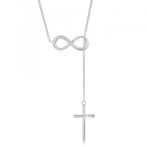 N028148 - Sterling Silver Infinity Symbol with Hanging Cross Necklace