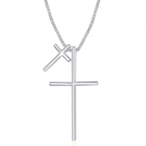 N028152 - Sterling Silver Double Cross Necklace, 16 + 2""