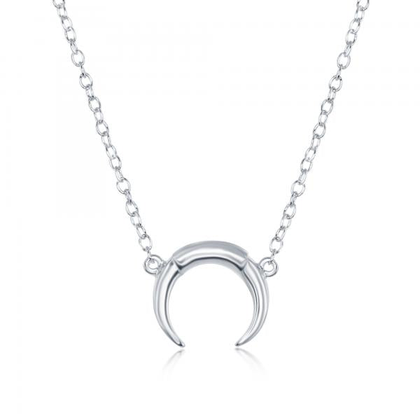 N028153 - Sterling Silver Small Italian Horn Necklace