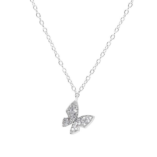 N028154 - Sterling Silver and CZ Butterfly Necklace
