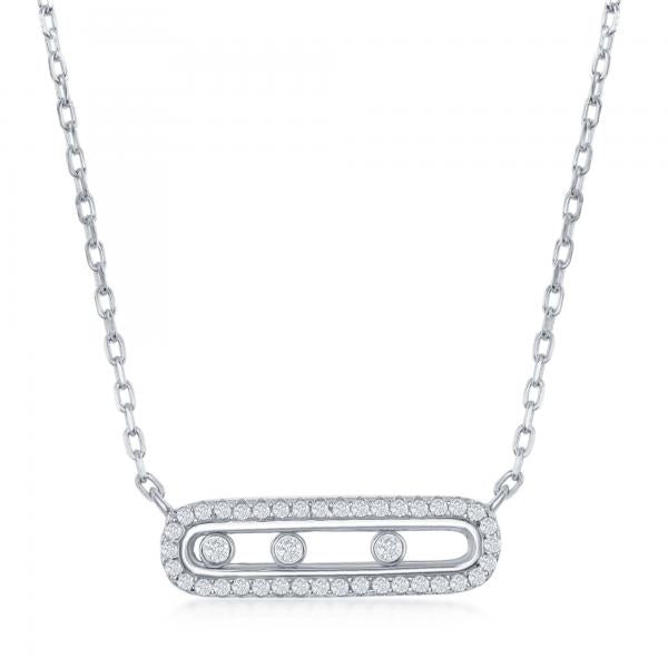 N028156 - Sterling Silver Rectangle with Sliding CZ's Necklace