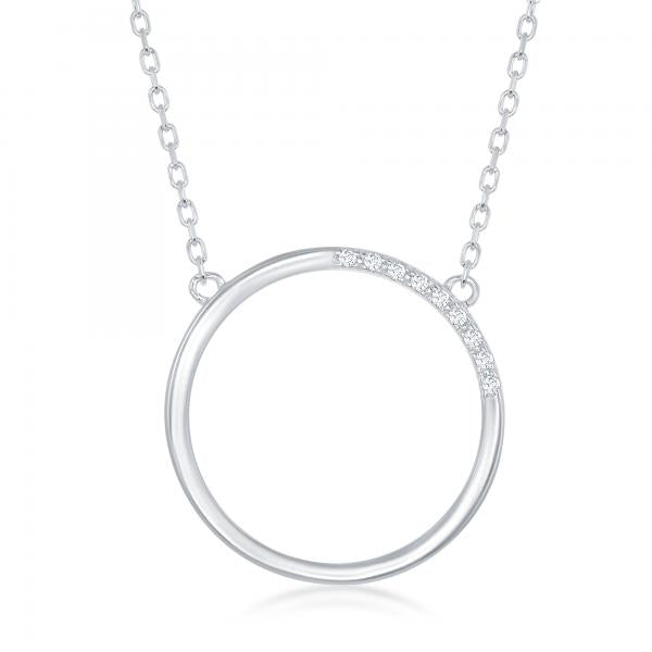 N028158* - Sterling Silver Open Circle with Cubic Zirconia Accent Necklace