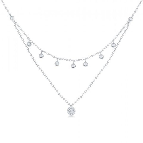 N028174* - Sterling Silver Double Strand CZ Necklace