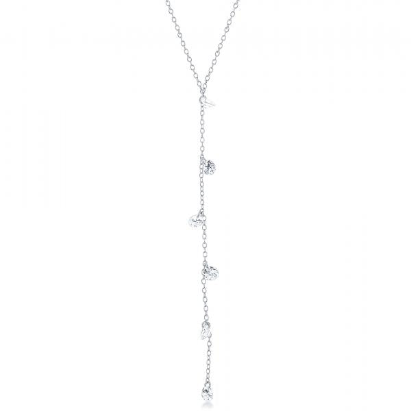 "N028175 - Sterling Silver and CZ Lariat ""Y"" Necklace"