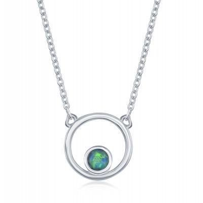 N028182 - Sterling Silver and Blue Inlay Opal Necklace