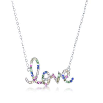 "N028187* - Sterling Silver and Rainbow CZ ""Love"" Necklace"