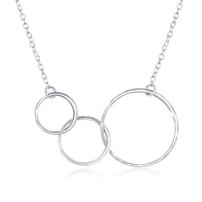 N028188 - Sterling Silver Interlocking Open Circle Necklace