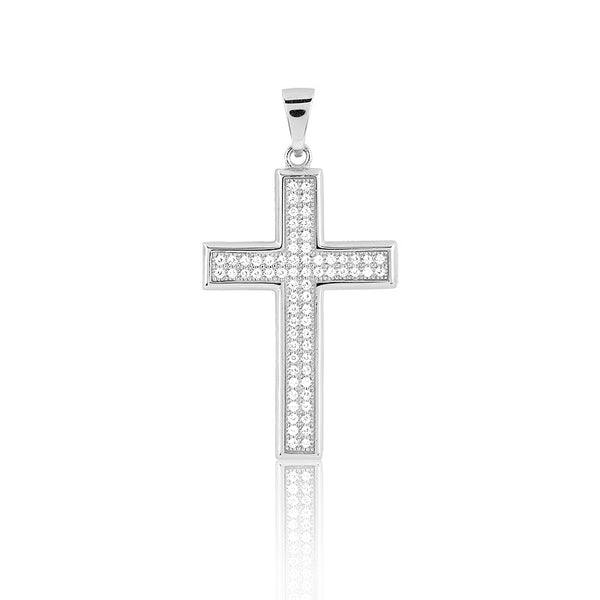 N028190 - Sterling Silver and Micro Pave CZ Cross Necklace