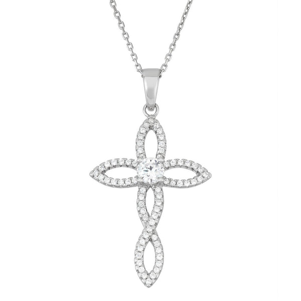 N028191^ - Sterling Silver and Cubic Zirconia Cross Necklace