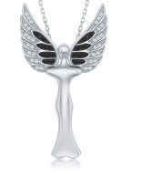 N028196 - Sterling Silver CZ Angel Pendant W/ Movable Wings