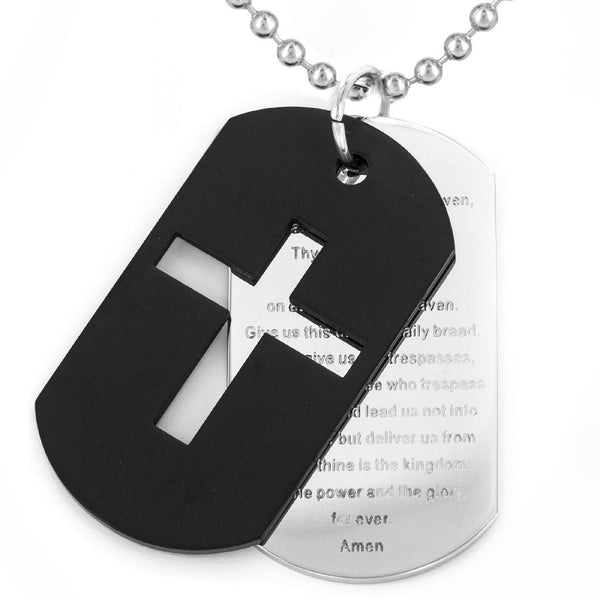 N047004 - Men's Stainless Steel Double Dog Tag Necklace with Lord's Prayer, 24""