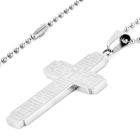 N047005 - Polished Stainless Steel Lord's Prayer Cross Necklace, 24""