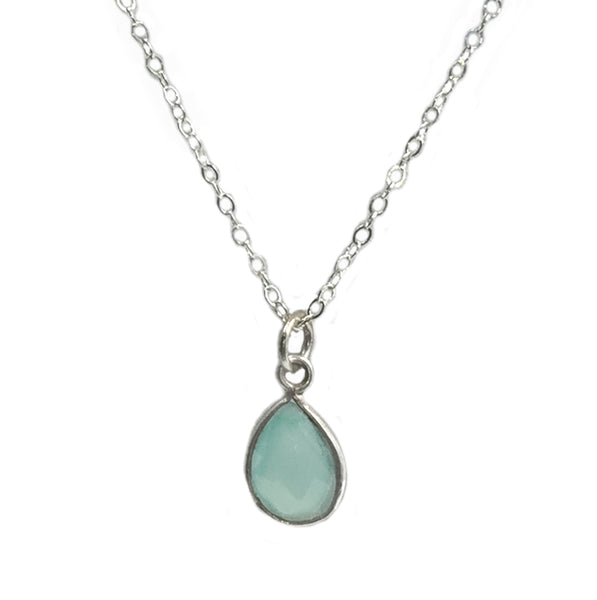 N048014* - Sterling Silver and 10 x 7mm Teardrop Aqua Chalcedony Necklace, 18""