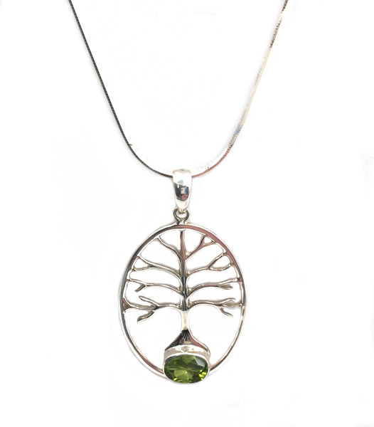 "N058011 - Sterling Silver and Peridot ""Tree of Life"" Necklace"
