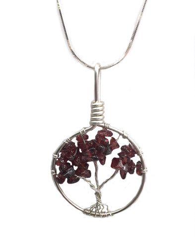 "N061088* - Sterling Silver and Garnet ""Tree of Life"" Necklace"