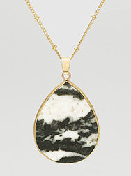 N082013 - Fashion Teardrop Shape Natural Stone Pendant on Long Chain