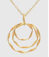 N082016 - Fashion Gold Metal Triple Circle Pendant on a Long Chain