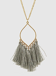 N082026 - Fashion Gray Thread Tassel Pendant on a Long Chain