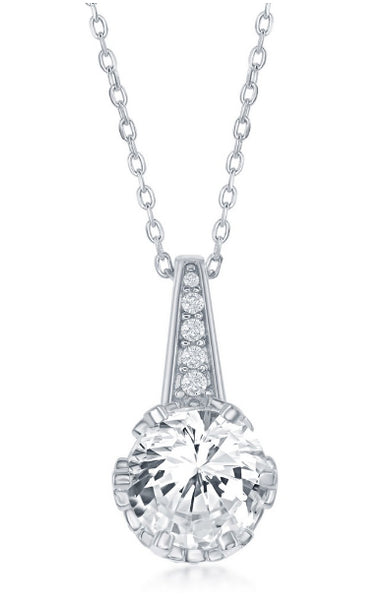 N028171 - Sterling Silver and Round Cubic Zirconia Necklace