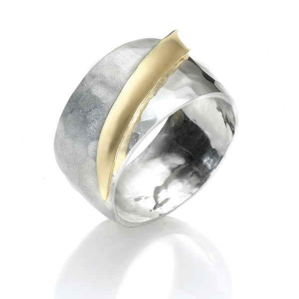 R001010* - Two-Tone Hammered Polished and Matte Ring