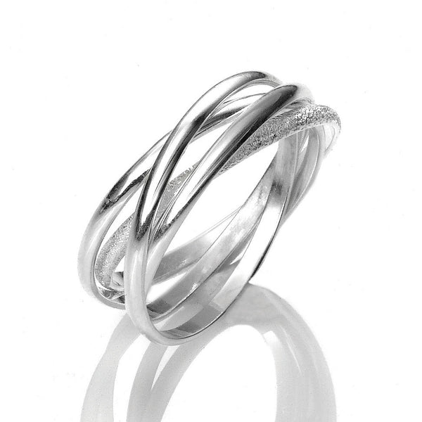 R005047 - Polished and Textured Sterling Silver Roll Ring