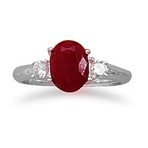 R005070* - Sterling Silver, Rough Cut Ruby and Cubic Zirconia Ring