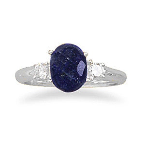 R005074* - Sterling Silver, Rough Cut Sapphire and Cubic Zirconia Ring