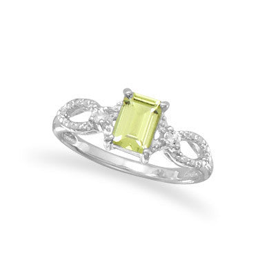 R005077* - Emerald Cut Peridot and White Topaz Ring