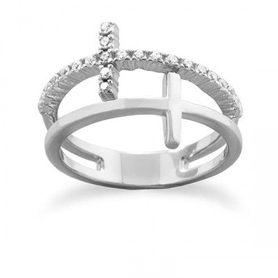 R005079 - Sterling Silver and Cubic Zirconia Double Cross Ring
