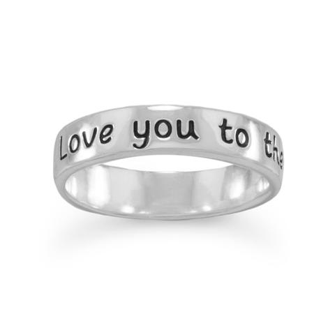"R005081* - Sterling Silver ""Love You to the Moon and Back"" Ring"