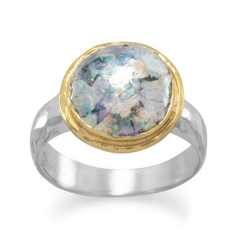R005082 - Sterling Silver, 14k Gold Plating and Roman Glass Ring